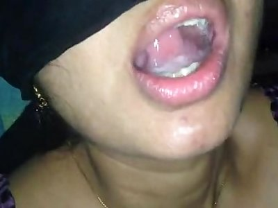horny indian aunty swallows all cum...