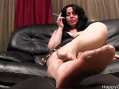 Alisa high heels steps, and nylon footplay